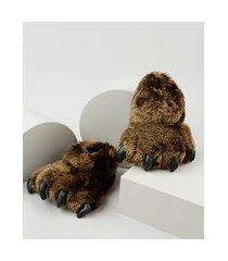 pantufa infantil palomino pata de urso em pelúcia marrom