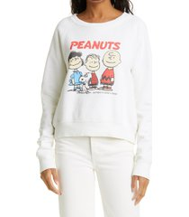 women's re/done x peanuts classic raglan crewneck pullover, size small - white