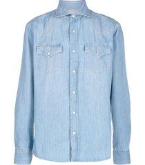 brunello cucinelli spread-collar denim shirt - blue