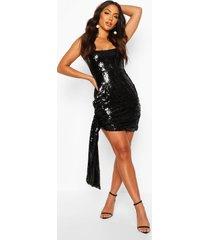 wikkel mini jurk met pailetten, strikjes en vierkante hals, black