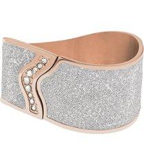 bracciale bangle big in acciaio rosé, lurex silver e cristalli per donna