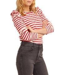 women's rebecca minkoff talia stripe long puff sleeve top, size small - red