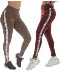 kit 2 calças leggings risca lateral vermelha e marrom