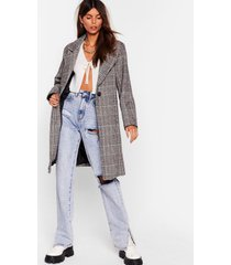 womens check up on 'em button-down trench coat - stone