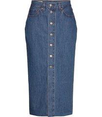 button front midi skirt middle knälång kjol blå levi´s women