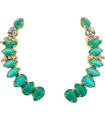 brinco maxi ear cuff verde esmeralda banhado a ouro 18k - kanui
