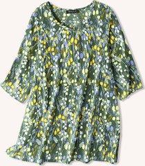 camicetta casual a maniche lunghe con scollo a o con stampa floreale per donna