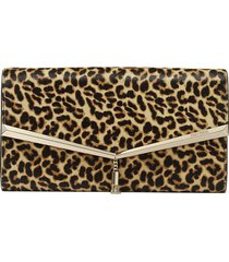 jimmy choo elish leopard-print clutch bag - neutrals
