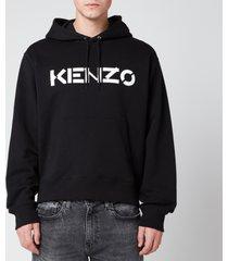 kenzo men's bi-colour logo hoodie - black - xxl
