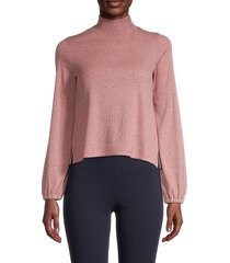 madewell women's bubble sleeve sweater - heather rose - size m