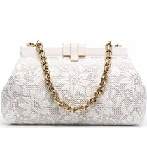 ermanno scervino white clutch with embossed floral embroidery