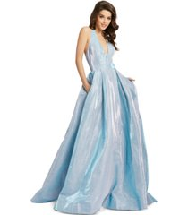 mac duggal metallic open-back gown
