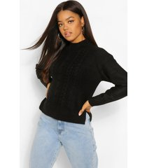 cable knit high neck sweater, black