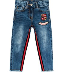 monnalisa striped and spotted stretch denim jeans