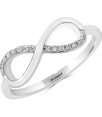 novelty diamond and 14k white gold infinity ring