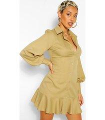 geweven blouse jurk met losvallende zoom, olijf