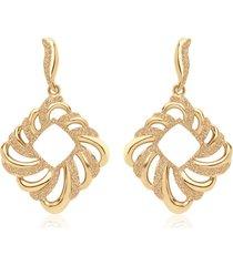 orecchini pendenti in ottone dorato forma rombo con glitter per donna