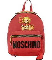 moschino couture backpack moschino couture backpack in synthetic leather with gladiator teddy print