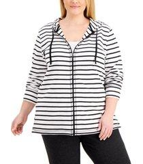 karen scott plus size striped zippered hoodie, created for macy's