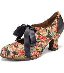 socofy donna elegante graziosi piccoli fiori stampati comodi indossabili stringate con cuciture tacco grosso décolleté