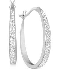 """essentials crystal tapered hoop earrings in fine silver-plate, 1.2"""""""