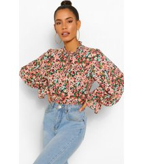 floral high neck smock top, black