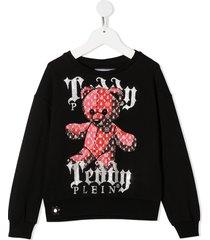 philipp plein stud-embellished teddy print sweatshirt - black