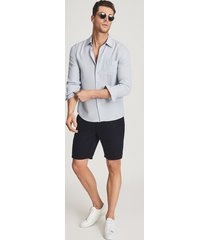 reiss ezra - cotton linen blend shorts in navy, mens, size 38
