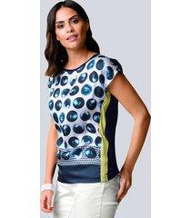 shirt alba moda marine::wit::limoengroen