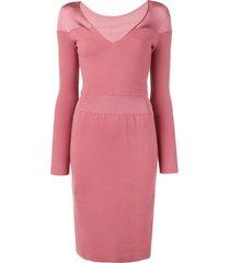 alaïa pre-owned v-neck knit dress - pink
