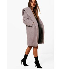 petite oversized hooded teddy coat, grey