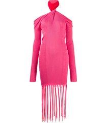 bottega veneta twisted-neck ribbed-knit dress - pink