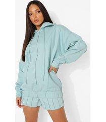 tall denim hoodie met naaddetail, light wash