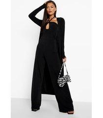 jumpsuit met halter neck en geplooide taille en duster jas set, black
