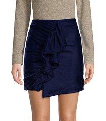 patbo women's velvet ruffled mini skirt - midnight blue - size 2