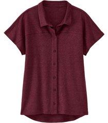 linnen-jersey blouse, granaat 36