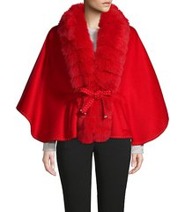 made for generation dyed fox fur trim cape