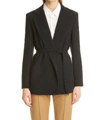 women's max mara belted wrap jacket, size 16 - black