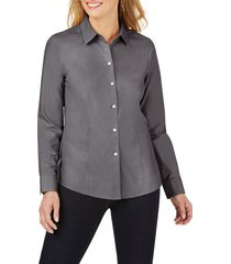 women's foxcroft dianna non-iron cotton shirt, size 10 - grey