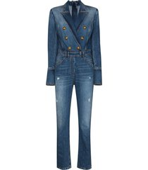 balmain double-breasted denim jumpsuit - blue