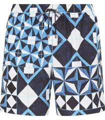 dolce & gabbana majolica print drawstring swim shorts - blue