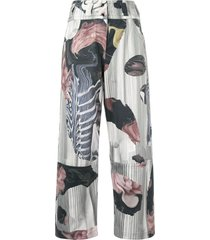 roberts wood collage print trousers - green