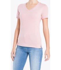 camiseta decote v ck abertura lateral - rosa - m