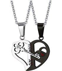 dije parejas cadena corazon llave acero inoxidable negro plateado