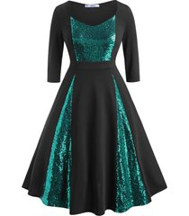 sequins panel scoop plus size prom dress