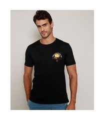 "camiseta masculina flor fireflies in the sky"" manga curta gola careca preta"""