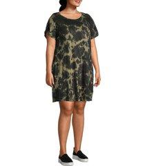 sanctuary women's plus tie-dye t-shirt dress - green tie dye - size 1x (14-16)