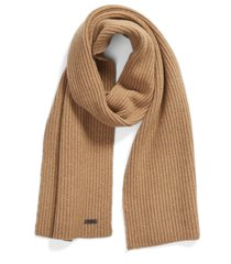 men's boss maloi ribbed scarf, size one size - beige