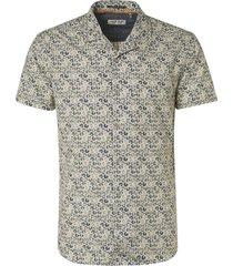 no excess shirt short sleeve all over printed indigo blue