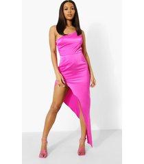 maxi jurk met eén blote schouder en extreme split, magenta